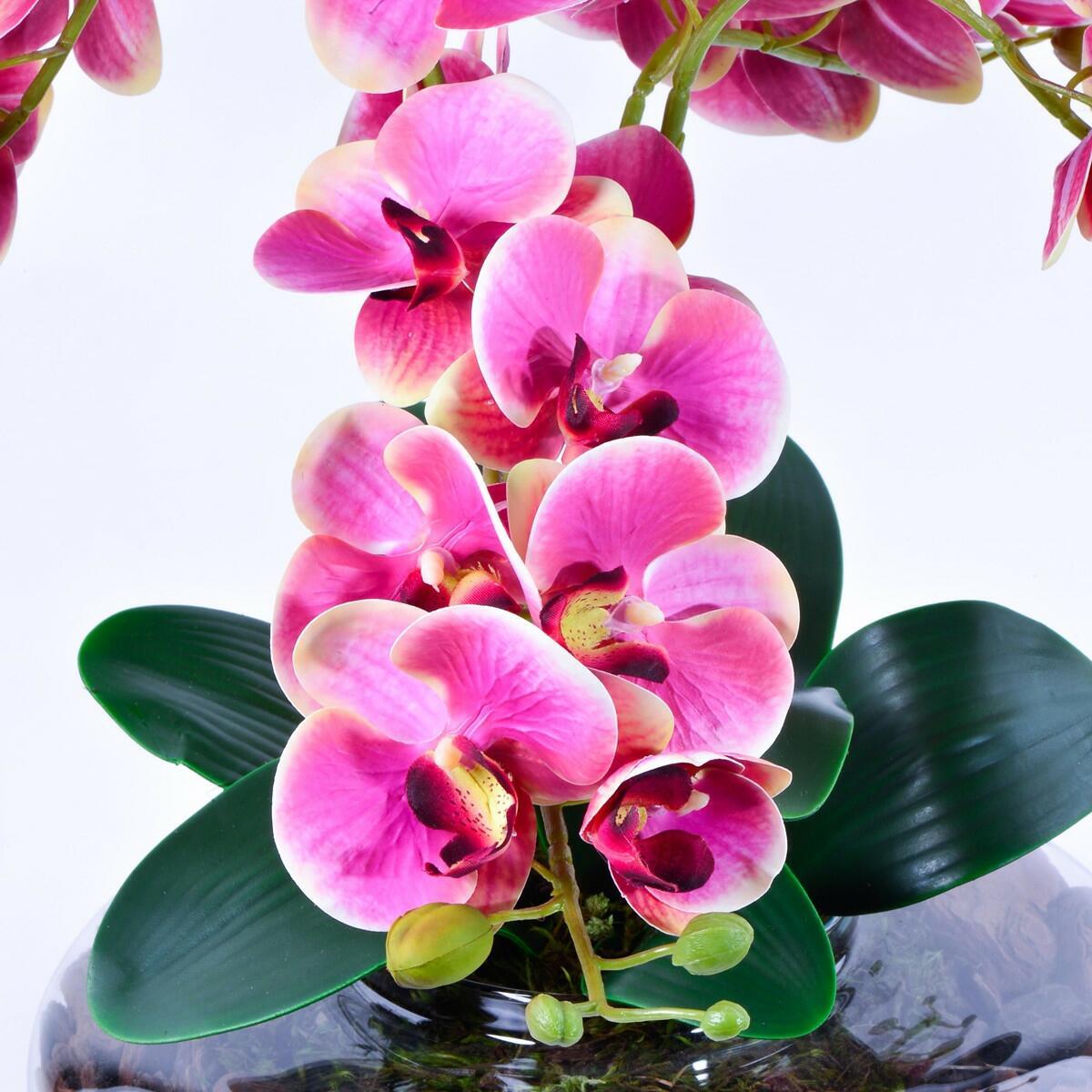 Arranjo Centro de Mesa de Orquídea Rosa Toque Real