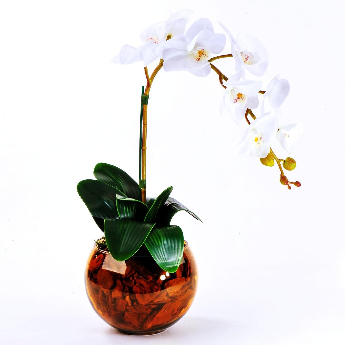 Arranjo de Orquídea Artificial Branca em Aquário Ambar
