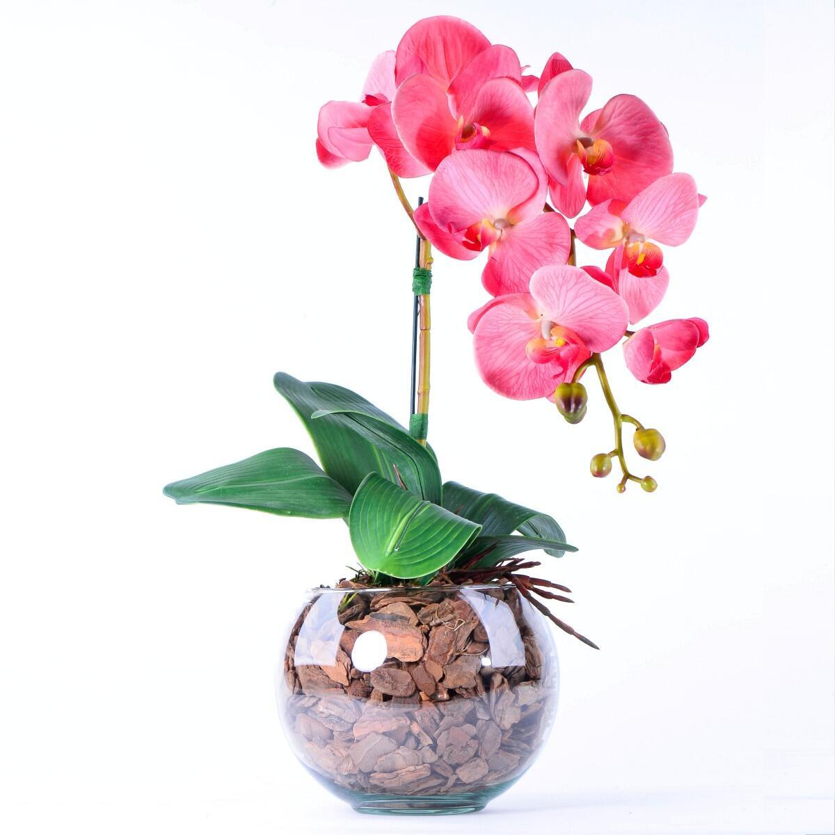 Arranjo de Orquídea de Silicone Coral
