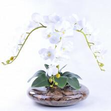 Arranjo Centro de Mesa de Orquídea Branca Toque Real Nevada