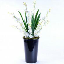 Arranjo de Orquídea Artificial Chuva de Prata Illuminata