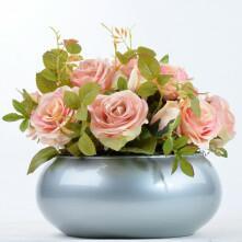 Arranjo de Rosa Artificial em Vaso Prata Veneza
